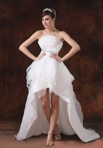 Strapless Organza High-low Bridal Dress with Decorated Waist and Beading