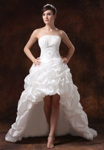 Beaded High-low Strapless Wedding Dress with Decorated Waist in