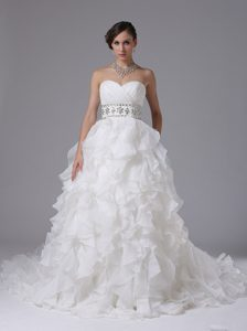Gorgeous Ruched Wedding Reception Dress with Ruffled Layers and Beading
