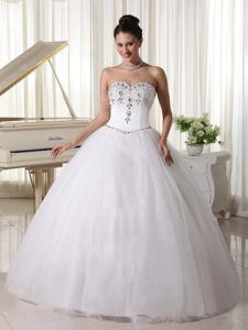 Sweetheart Wedding Bridal Gown with Rhinestones and Beading in Organza