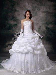 Exquisite Strapless Brush Train and Lace Wedding Dresses under 250
