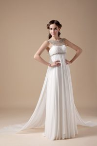 2013 Fabulous Empire Scoop Chiffon Beaded Wedding Dress with Brush Train
