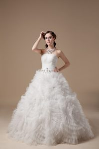New arrival Long Lace-up Satin and Tulle Beaded Dresses for Brides