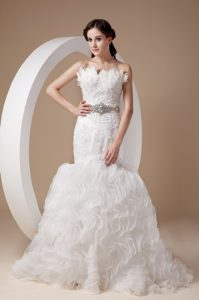 Magnificent Mermaid Strapless Court Train Organza Wedding Bridal Gowns