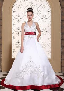 Charming Embroidered Lace-up Satin Wedding Dress in Wine Red and White
