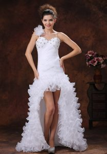 Fashionable High-low Beaded and Ruched Wedding Reception Dress for Fall