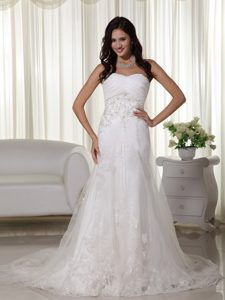 Gorgeous A-line Sweetheart Court Train Tulle Wedding Gown with Appliques
