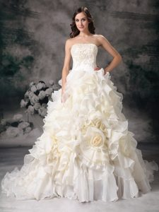 Wonderful Strapless Chapel Train Organza Wedding Reception Dress for Fall