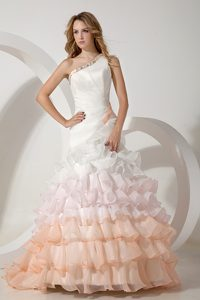 Multi-color One Shoulder Brush Train Organza Fashionable Dress for Brides