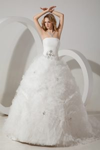 Best Seller Ruched and Beaded Strapless Tulle Wedding Bridal Gown in White