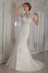 Charming V-neck Lace Wedding Dress with Court Train for Winter under 250