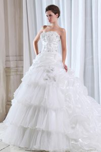 Fabulous Beaded and Appliqued Lace-up Wedding Reception Dress for Spring