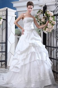 Sweet Ruched and Beaded Zipper-up A-line Bridal Dresses with Court Train