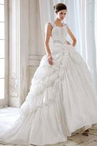Impressive Princess Appliqued Court Train Wedding Dress with Straps