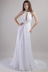 Romantic Halter Top Chapel Train Chiffon Dresses for Brides with Appliques