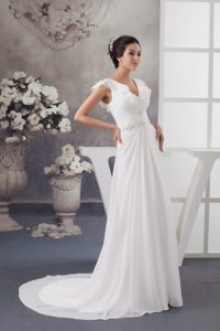 Charming Sweep Train V-neck Beaded and Ruched Summer Dress for Brides
