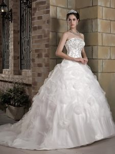 Romantic Strapless Chapel Train and Organza Wedding Bridal Gown