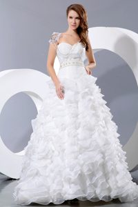 Special Sweetheart Court Train Satin and Organza Bridal Dress with Ruffles