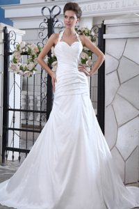 Mermaid Halter Top Court Train Sweet Bridal Dresses with Ruches