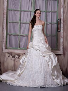 Strapless Chapel Train and Lace 2012 Impressive Dress for Wedding