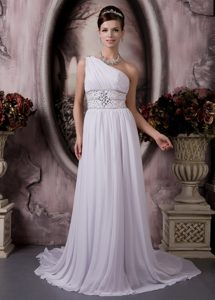 Unique One Shoulder Court Train Chiffon Wedding Bridal Gown with Beading