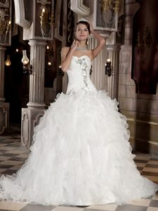Best Seller Court Train Organza Beaded and Ruffled Bridal Gowns in White