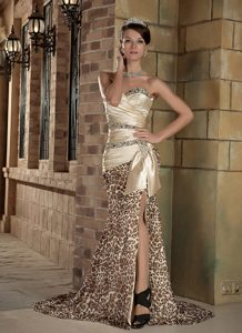 Beautiful Champagne Sweetheart and Leopard Wedding Dress for Fall