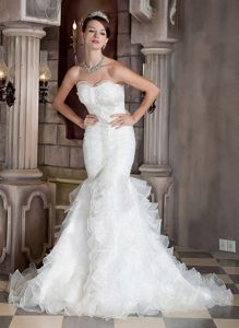 Gorgeous Beaded and Ruffled Mermaid Lace-up Organza Dress for Wedding