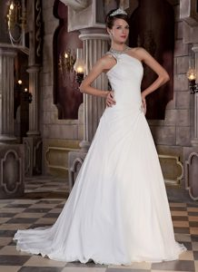 2013 Popular Ruched and Beaded Lace-up Chiffon Summer Dress for Brides