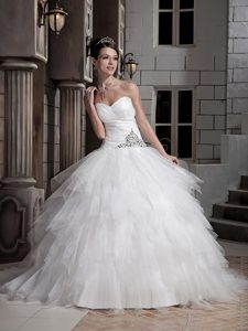 Fabulous Sweetheart Court Train Tulle and Bridal Dress with Beading