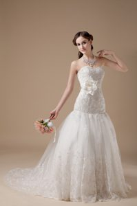 2013 Fashionable Brush Train and Lace Bridal Gowns with Flower