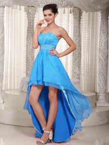 Sweetheart High-low Lace Beading 2013 Baby Blue Empire Dresses for Military Party