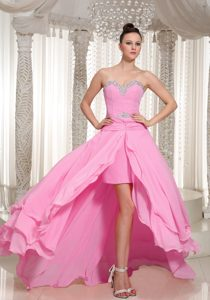 High-low Chiffon Beaded Decorate Custom Made Baby Pink Dresses for Military Party