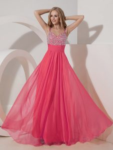Discounted Coral Red Empire Straps Chiffon Beading Dresses for Military Party
