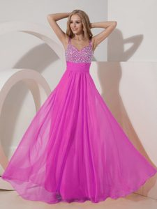 Empire Straps Chiffon Beading Best 2013 Military Dress in Hot Pink for Customize