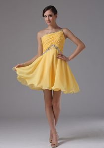 Brand New One Shoulder Yellow for Military Dresses with Ruche and Beading