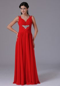 Fabulous Red V-neck Ruched and Beaded Spring Military Dresses for Party