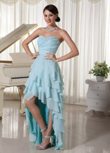 Baby Blue High Low Chiffon Luxurious Summer Military Dresses for Prom
