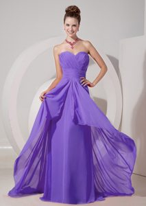 Fashionable Lavender Sweetheart Ruched Lace-up Military Dresses for Prom