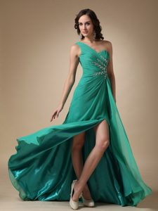 Special Turquoise One Shoulder Brush Train Ruched Military Dress for Party