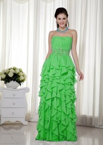 Strapless Long Popular Green Military Dresses for Prom with Ruches