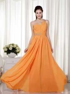 One Shoulder Long Chiffon Fabulous Ruched Military Dress in Orange