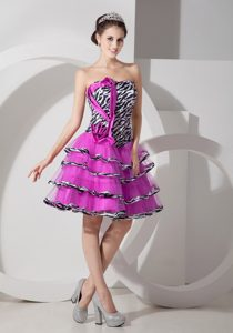 Wonderful Fuchsia A-line Zebra and Organza Lace-up Military Dress for Prom