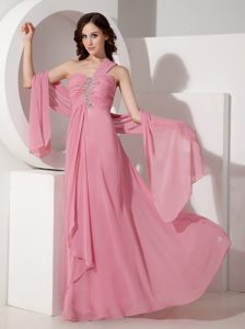 One Shoulder Ruched and Beaded Chiffon Gorgeous Military Dresses in Pink