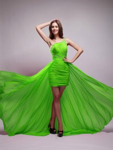 Elegant Green Asymmetrical One Shoulder Chiffon Military Dresses for Party