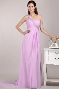 Exquisite Baby Pink One Shoulder Watteau Train Military Dresses for Prom