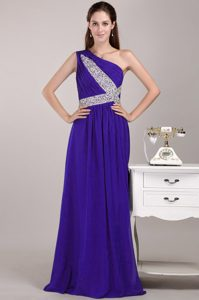 Wonderful One Shoulder Ruched and Beaded Long Military Dresses in Purple
