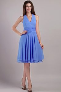 Memorable Blue Halter Top Knee-length Chiffon Military Dresses for Fall