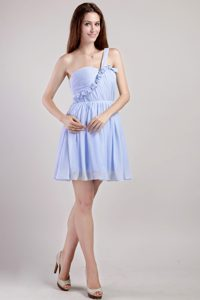 One Shoulder Ruched Chiffon 2013 Popular Military Dresses for Prom in Lilac