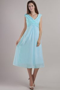 Exquisite Light Blue V-neck Ankle-length Chiffon Military Dresses for Party